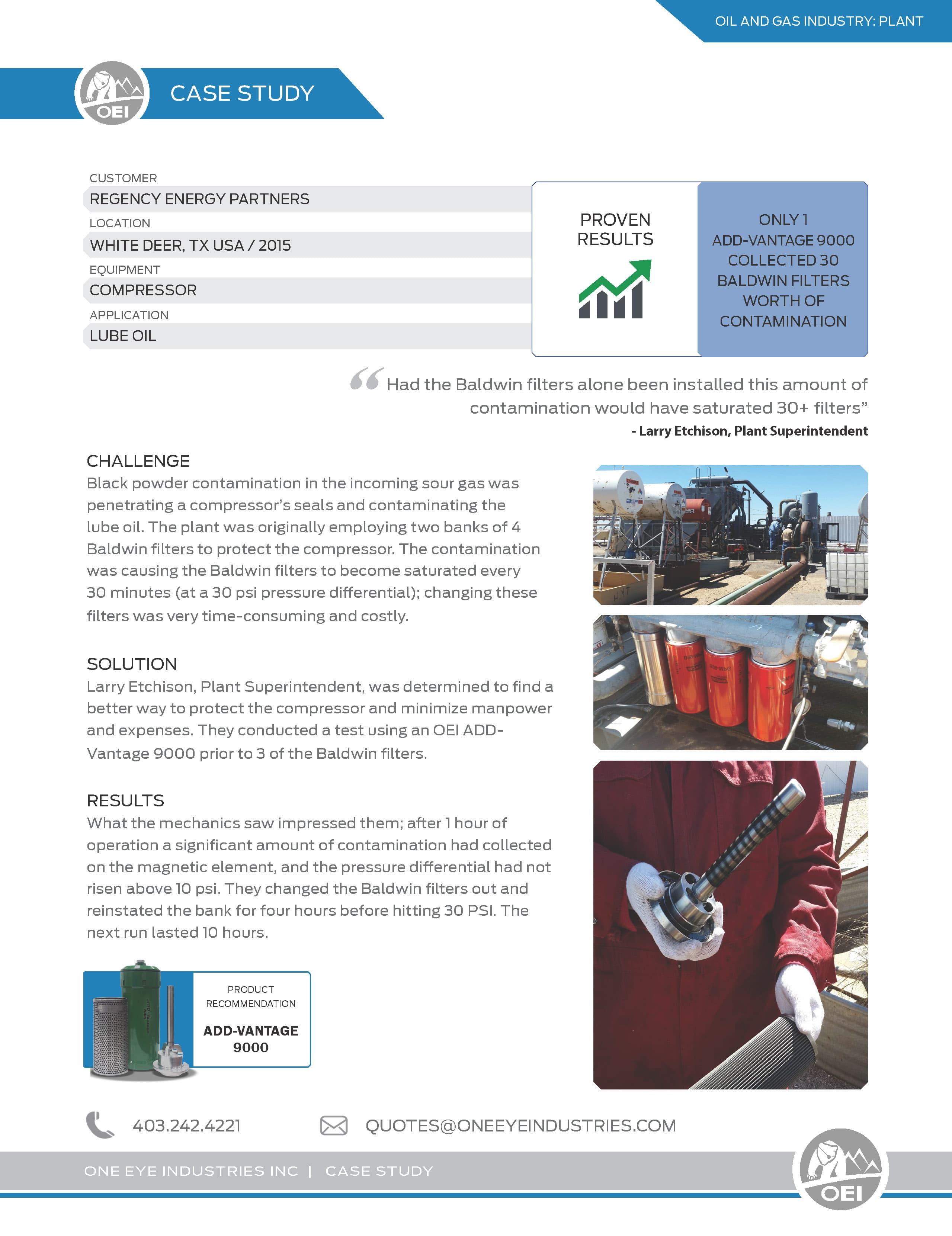 OG Plant_Regency Energy Partners Compressor Lube Oil